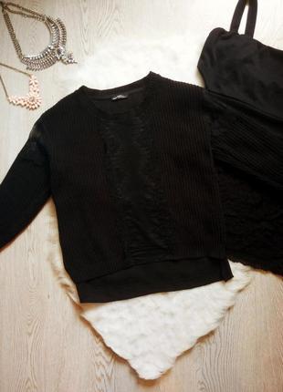 Черный вязанный нарядный свитер кофта со ажурными вставками ги...