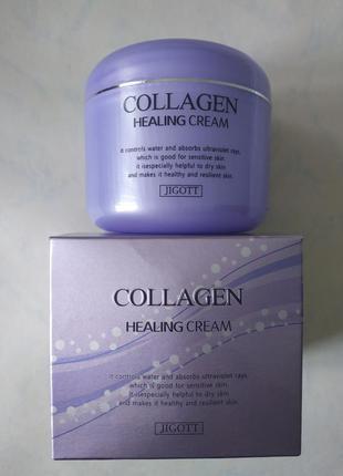 Питательный крем с коллагеном jigott collagen healing cream, 1...