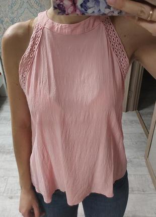 Нежная вискозная нежно розовая блуза топ