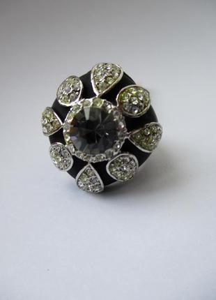 Sale -50%! кольцо с камнем и стразами, бижутерия, размер 18-18,5