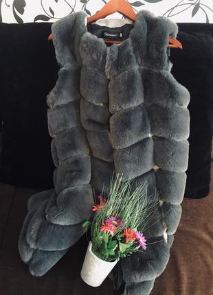 Жилетка 95 см искусственный мех кролик рекс