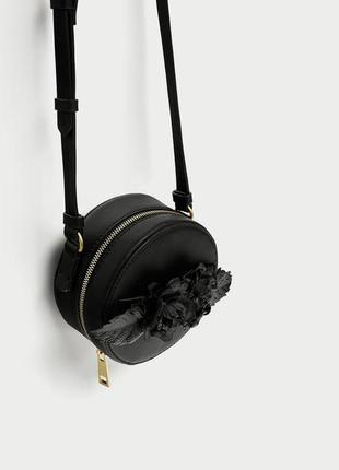 Круглая сумка с цветами zara, оригинал кроссбоди кросс боди