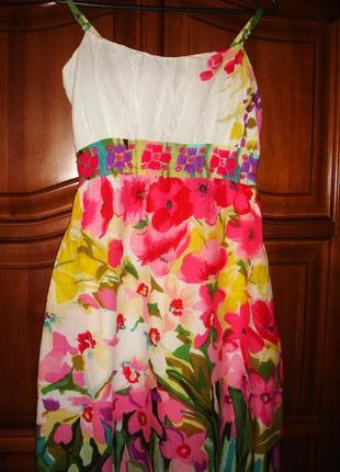 Сарафан платье летнее в цветах размер 44 / 10 миди средней дли...