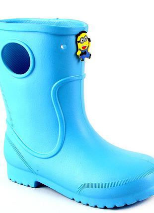 Сапоги на дождь из пены эва детям, резиновые сапоги голубые