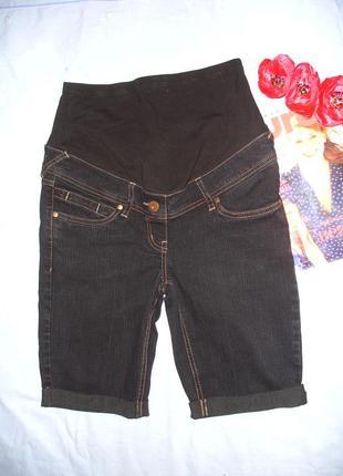 Женские шорты джинсовые размер 42 / 8 для беменнных темные сре...