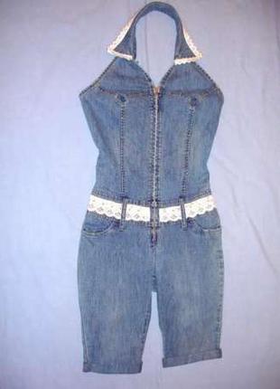 Ромпер женский джинсовый комбинезон размер 40 комбенезон летни...