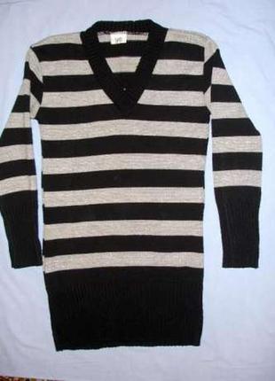 Туника вязаная размер 46-48 / 12 черная серебро женская кофта ...