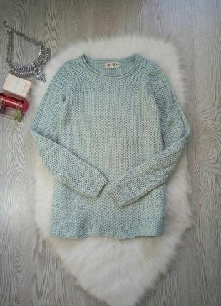 Голубой теплый вязанный свитер кофта бирюзовая