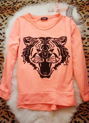 Оранжевый неоновый свитшот с черным принтом рисунок тигра джем...