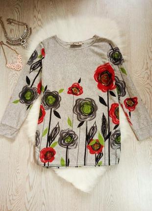 Серая кофта длинный свитер туника с ярким цветочным принтом ри...