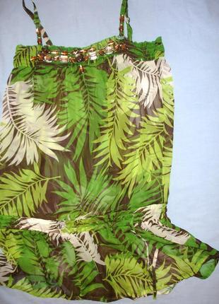Туника шифон размер 48-50 /14 блузка блуза кофточка летняя зел...