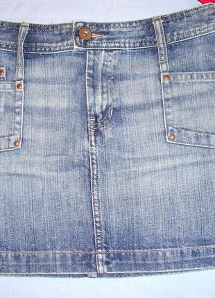 Юбка джинсовая короткая размер 40 / 6-8 xs летняя женская мини...
