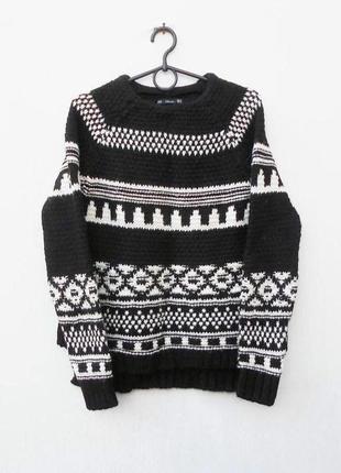 Теплый зимний осенний свитер свитшот крупной вязки с шерстью с...