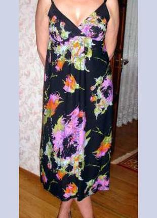 Платье черное размер 46 летнее сарафан плаття сукня с цветочны...
