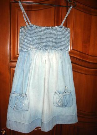 Джинсовое платье сарафан сукня размер 44-46 / 12 миди с кармаш...