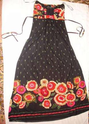 Платье в пол летнее размер 40-42 в цветах нарядное сарафан сукня