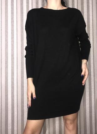 Платье мешок свободное трикотажное летучая мышь чёрное
