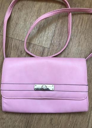 Сумка розовая через плече клатч вместительная hermés сумочка