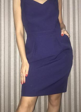 Стильное фиолетовое платье карандаш мили с вырезом классическо...