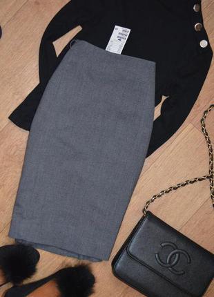 Темно серая юбка карандаш классическая миди с высокой посадкой...