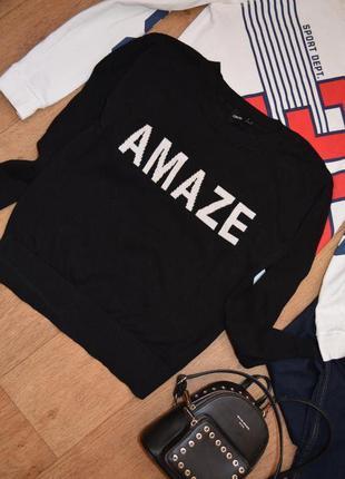 Стильный свитер свитшот с надписью черный свободный хс с asos