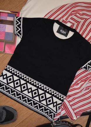 K&k черно белая футболка бандажная плотная топ ххс качественна...