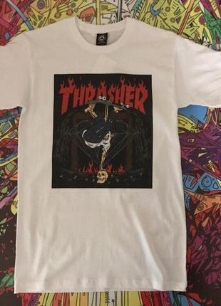 Белая футболка thrasher • белая футболка трешер• топ качество