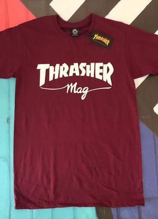 Бордовая футболка thrasher mag• топ качество• трешер футболка