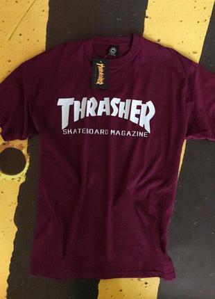 Футболка thrasher мужская• бордовая футболка трешер• топ качество