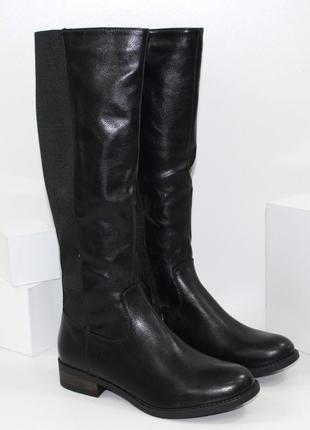 Женские черные демисезонные сапоги с резиновыми вставками низк...