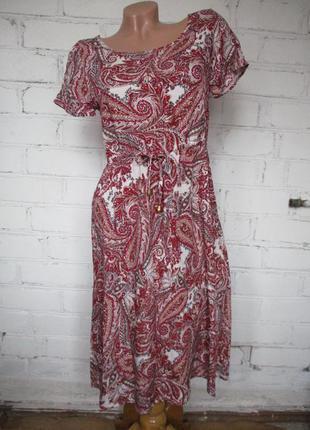 Платье летнее на кулиске в восточный принт/пейсли/65% хлопок/s-m