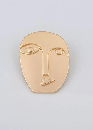 Авангардная брошь лицо/золотая/новая коллекция2020