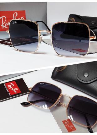 Очки солнцезащитные ray ban в золотой оправе