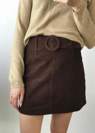 Юбка пояс ремень короткая мини коричневая вельветовая прямая т...
