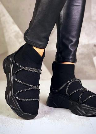 ❤ женские черные высокие кроссовки ❤