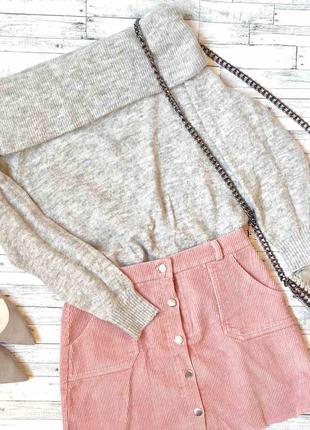 Серый свитер со спущенными плечиками от h&m