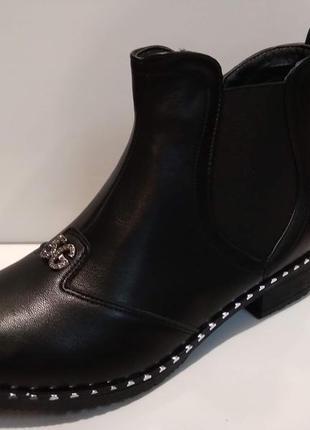 Ботинки демисезонные женские на низком ходу и молнии