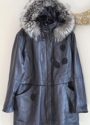 Роскошный кожаный плащ, пальто с мехом чернобурки 54-56