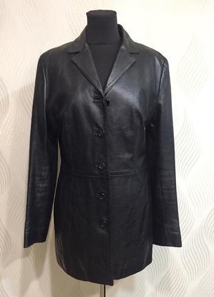 Винтажная кожаная куртка плащ тренч кожаный пиджак dolce & gab...