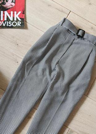 Стильные брюки штаны в гусиную лапку с карманами s m