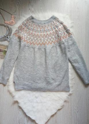 Серый вязаный свитер с бронзовыми блестками на воротнике кофта...