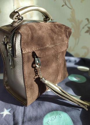 Стильная сумка -рюкзак, натуральная замша.