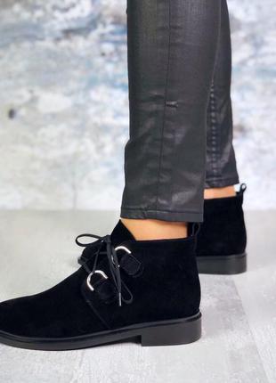 ❤ женские черные замшевые весенние демисезонные ботинки на бай...