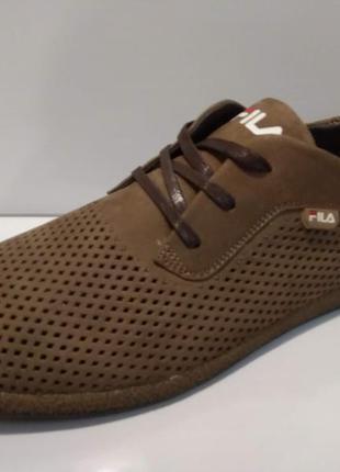 Туфли мужские на шнурках натуральная кожа--перфорация