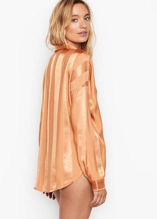 Сатиновая домашняя рубашка от victoria's secret, домашняя одеж...