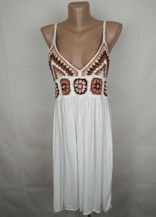 Платье новое белое вискозное стильное кроше uk 14/42/l