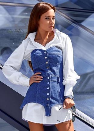 Платье-рубашка с поясным корсетом