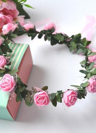 """Красивый ободок (веночек, обруч) """"розочки"""" нежно-розовый"""