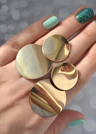 Серьги-монетки в стиле zara золотистые