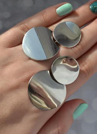 Серьги-монетки глянцевые в стиле zara серебристые